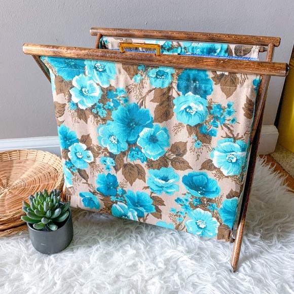 Vintage Folding Blue Floral Knitting Sewing Basket
